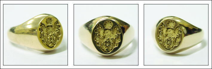 Mason Reverse Family Crest Ring in natural finish