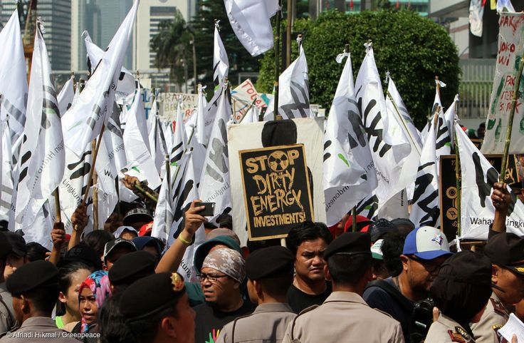 Thousands of people have taken to the streets in a carnival atmosphere to urge the government to end Indonesia's addiction to coal in front of Japanese embassy in Jakarta, Wednesday, May 11, 2016. The marchers carried banners calling for Indonesia to reject coal in favour of clean renewable energy, and to honour the commitment made in the Paris Agreement last year, to reduce the country's carbon emissions.