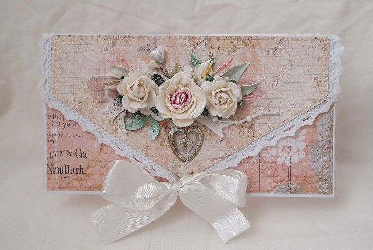 """Idea: Cut paper to card size, cut """"envelope flap"""" from paper.   Line flap with punched lace and pop it up over the """"leftover"""" paper.   Add Bitty Blossoms or Mini Royal Roses and a bow to finish."""