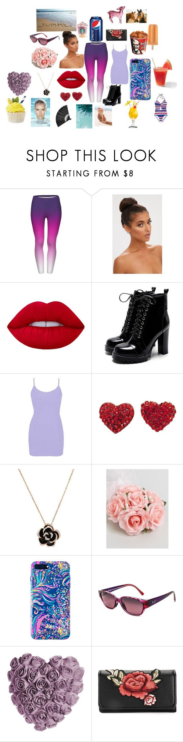"""""""summer day"""" by sapphiresand ❤ liked on Polyvore featuring Lime Crime, BKE, ASOS, Lilly Pulitzer and Maui Jim"""