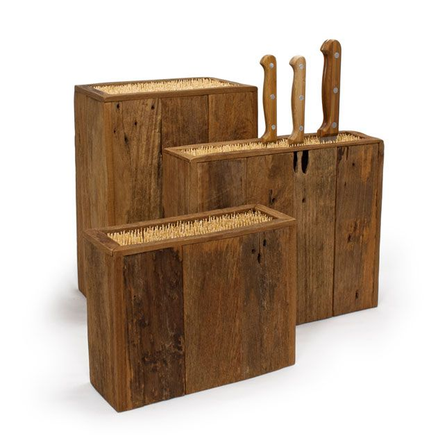 Sustainable bamboo and reclaimed hardwood team up to create this durable and responsible storage for your kitchen knives. Instead of trying to fit them back into a musty knife block, let them rest in t...  Find the Eco Wood Knife Block, as seen in the Espresso Your Style Collection at http://dotandbo.com/collections/espresso-your-style?utm_source=pinterest&utm_medium=organic&db_sku=BHM0050-s