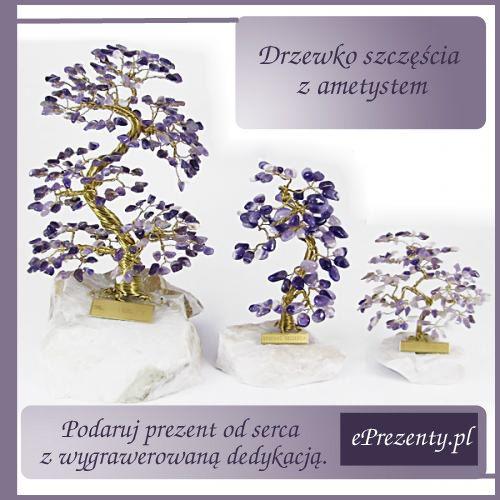 """Drzewko szczęścia wykonane jest z kilkudziesięciu kamieni naturalnych - ametystu, na szkielecie z drucików mosiężnych, zamocowane  na kamiennej podstawie z tabliczką """"DRZEWKO SZCZĘŚCIA"""". http://bit.ly/1E2ijr9"""
