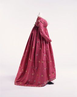 "Red Figured Silk Satin ""Round Gown. Italian, c. 1795."