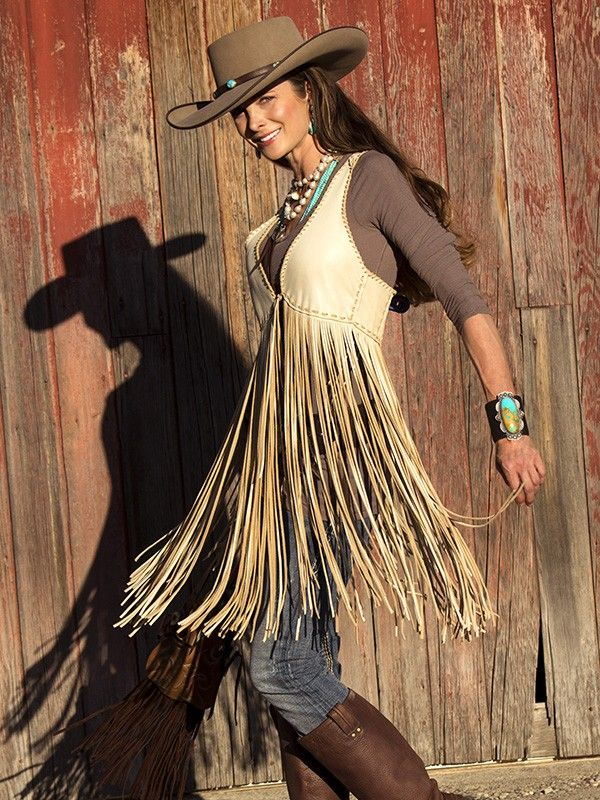 ❤ Cowgirls Fashions Western Style  Wild West Extra Long Smoke