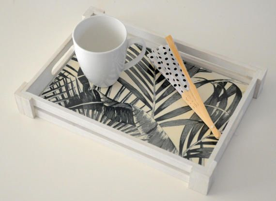 Wooden decoupage tray / Wooden tray / Decoupage tray / Flower wooden tray
