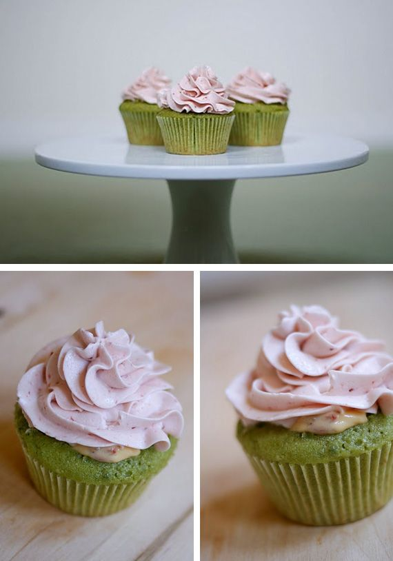 Green tea cupcakes with strawberry custard filling and SMBC frosting.  I made these for Meghan's birthday.  They were a hit.