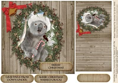Greetings From Downunder 7x7 Christmas Topper and Gift Tag on Craftsuprint - Add To Basket!