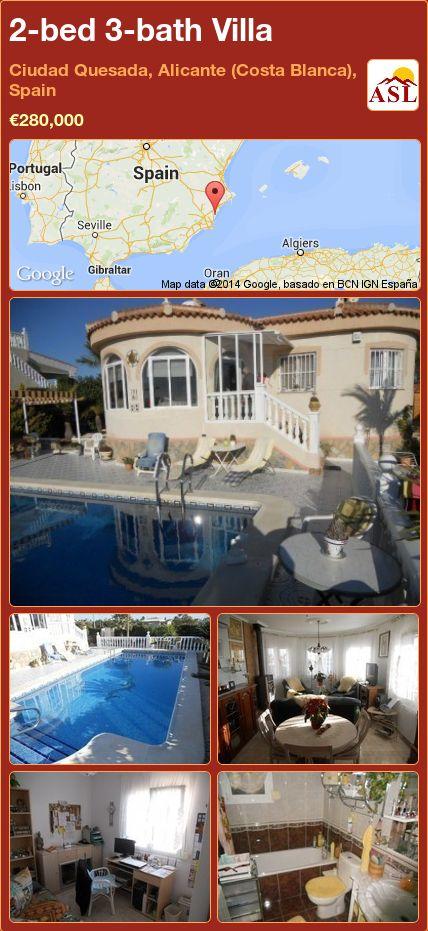 2-bed 3-bath Villa in Ciudad Quesada, Alicante (Costa Blanca), Spain ►€280,000 #PropertyForSaleInSpain