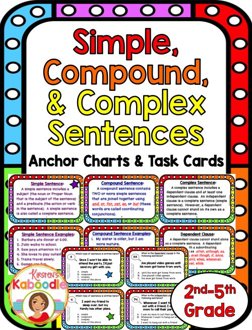 This fun and easy-to-use Simple, Compound, and Complex Sentences product is created for 2nd, 3rd, 4th, and 5th grade (this product extends beyond 2nd grade common core, but could be a solid introduction to simple, compound, and complex sentences for second grade students). This file contains 4 instructional pages for student reference, 36 task cards with varying question types (all multiple choice), an answer sheet, and an answer key.  Teacher friendly and student approved!