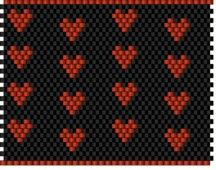 Peyote Stitch Graph Paper For Lighter Covers | Black and Red Hearts Chap-Stick Cover