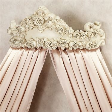 Victoria Rose Antique Ivory Wall Teester Bed Crown $129