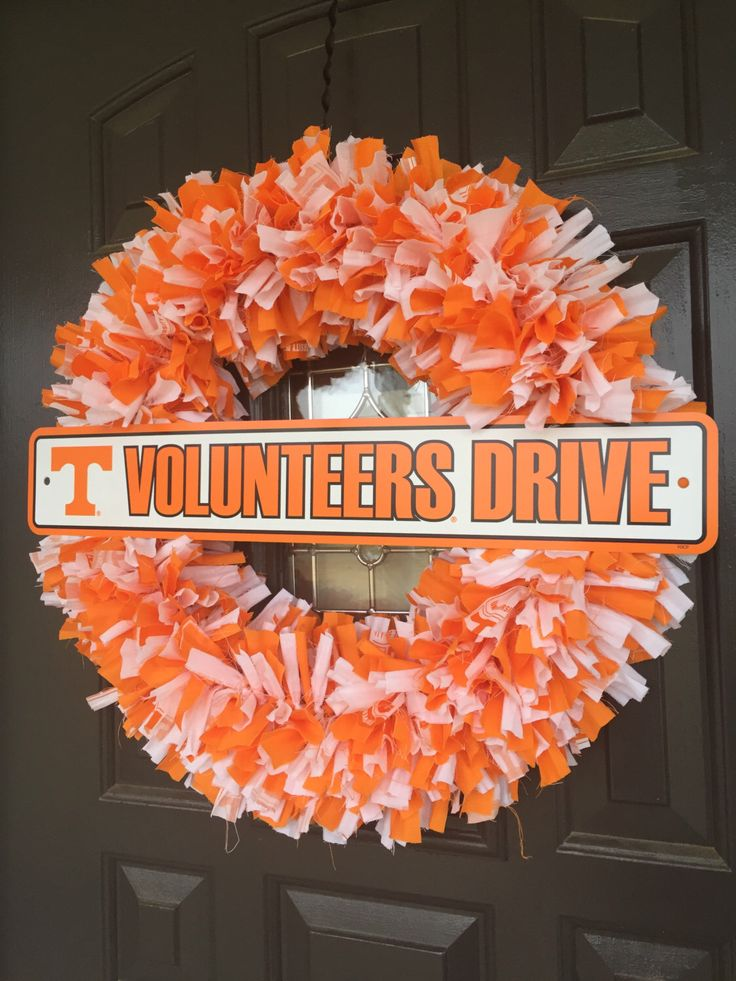 College Sports Team Decorations ~ Sports Decor ~ Tennessee Vols ~  Fabric Wreath ~ Team Street Sign ~ ACC Teams ~ Indoor Outdoor Decor by CarolinaConcepts on Etsy https://www.etsy.com/listing/269759262/college-sports-team-decorations-sports