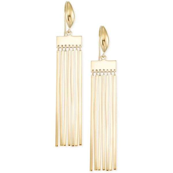 Sis by Simone I Smith Fringe Bar Tassel Drop Earrings in 18k Gold Over... ($350) ❤ liked on Polyvore featuring jewelry, earrings, yellow gold, 18k earrings, gold earrings, 18 karat gold earrings, drop earrings and sterling silver drop earrings