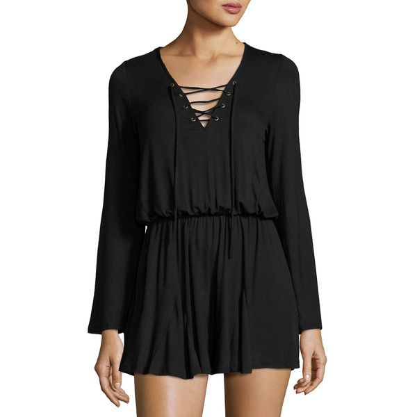 Nytt Lace-Up Long-Sleeve Romper (3,110 INR) ❤ liked on Polyvore featuring jumpsuits, rompers, black, long sleeve romper, long-sleeve rompers, v neck romper, long sleeve v neck romper and playsuit romper