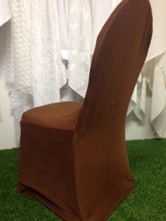 Light Brown Stretch Standard Conference Chair Cover. www.tableclothhiring.co.za