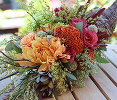 Lovely Thanksgiving Cornucopia Arrangement from Roger's Gardens.