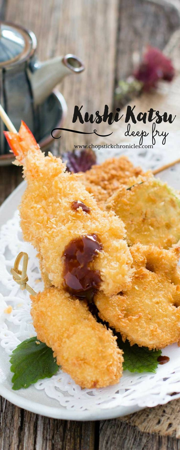 Kushi Katsu is variety of fresh ingredients such as sea food, meat and vegetables, skewered and panko crumbed then deep fried.