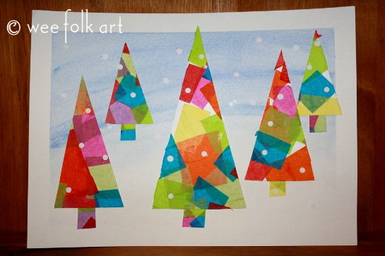 Winter Tissue Paper Trees... cute and happy!