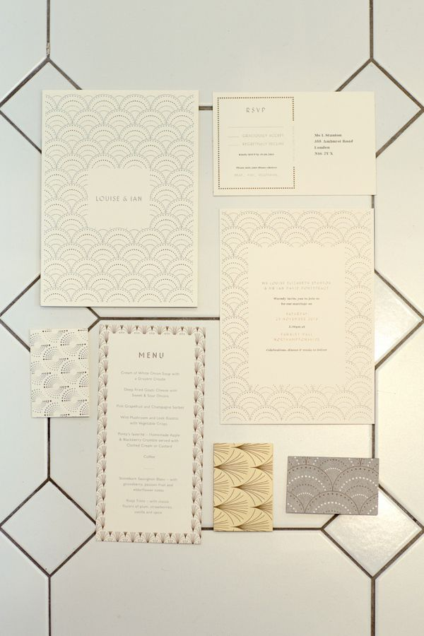 Art Deco inspired wedding stationery.  From 'Jenny Packham's Esme for a Charming and Elegant Country House Winter Wedding'  http://www.mariannetaylorphotography.co.uk/