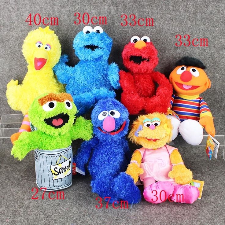 771.90$  Buy here - http://ali6jj.worldwells.pw/go.php?t=32693205285 - Full set 15sets/lot 7pcs/set Sesame Street Elmo Cookie Grover Zoe& Ernie Big Bird Stuffed Plush Toy Doll Gift Children