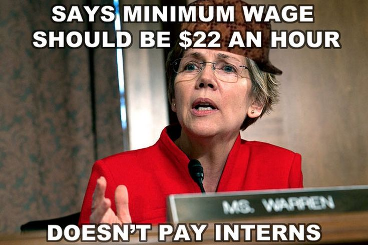 Elizabeth Warren hypocrisy...campaigning for high min wage and unlimited immigration (counter goals/artificial price floor for those who actually understand economics) while using unpaid interns. Ridiculous. LOL