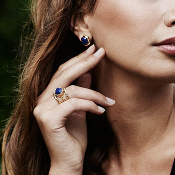 ISHARYA BLUE LAPIS RANI ROCK STUD EARRINGS 18K GOLD - Available at ALI LA FEY.  http://ow.ly/PVexr