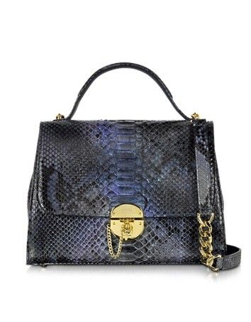 DARK BLUE PYTHON SATCHEL BAG W/DETACHABLE SHOULDER STRAP GHIBLI