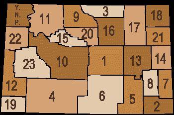 1 Natrona, 2 Laramie, 3 Sheridan, 4 Sweetwater, 5 Albany, 6 Carbon, 7 Goshen, 8 Platte, 9 Big Horn, 10 Fremont, 11 Park, 12 Lincoln, 13 Converse, 14 Niobrara, 15 Hot Springs, 16 Johnson, 17 Campbell, 18 Crook, 19 Uinta, 20 Washakie, 21 Weston, 22 Teton, 23 Sublette
