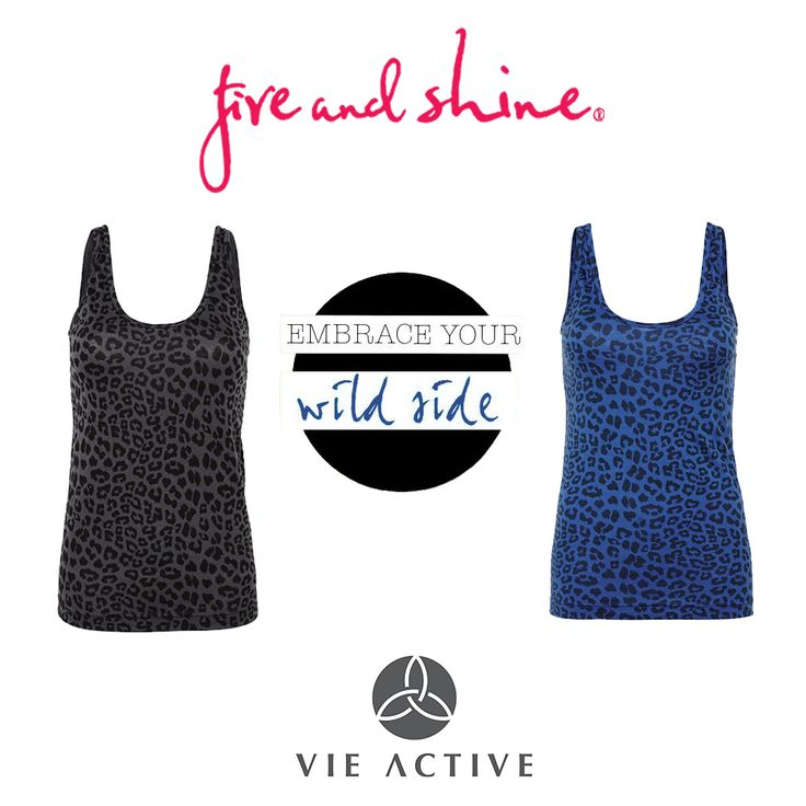 Embrace your wild side with these Maya Scoop Tanks by Vie Active - Available on the Fire and Shine Website in Charcoal Grey and Ocean Blue - $89.00 #fireandshine #ethical #vieactive #animalprint #leopardprint #yoga #fashion #activewear #loungewear #barre #hiit #circuit #getthelook #style