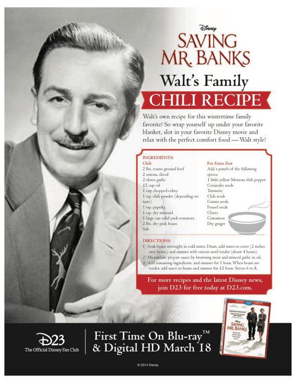 Walt Disney Family Chili Recipe