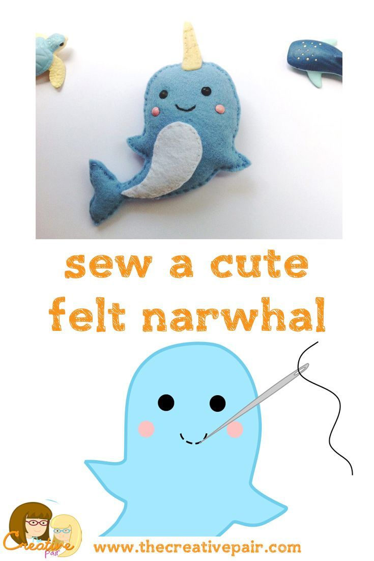 How to sew a cute felt narwhal — The creative pair