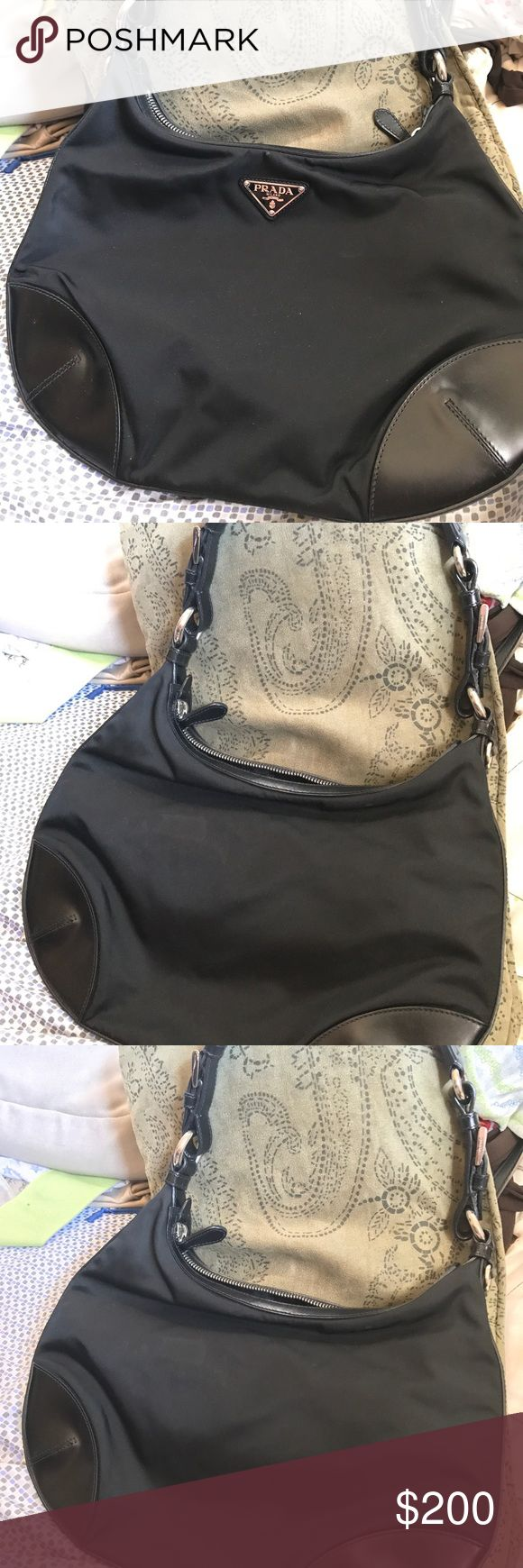 Black Prada Purse Black Prada purse. Practically new, used once. No wear at all. One compartment, one zipper pocket inside. Prada Bags Shoulder Bags