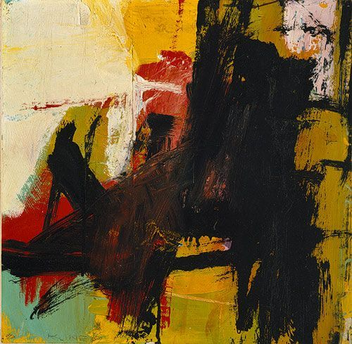 Franz Kline, Black Reflections, 1959Oil and pasted paper on paper, mounted on Masonite; 19 x 19 3/8 in. (48.3 x 49.2 cm)