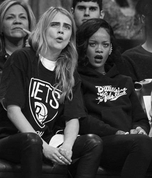 Cara Delevingne and Rihanna bad game good expressions