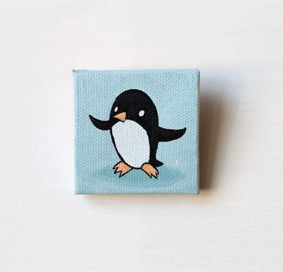 Happy Penguin Tiny Wall Art Painting Original by Karen Watkins kmwatkins on Etsy https://www.etsy.com/listing/215536975/happy-penguin-tiny-penguin-bird-painting