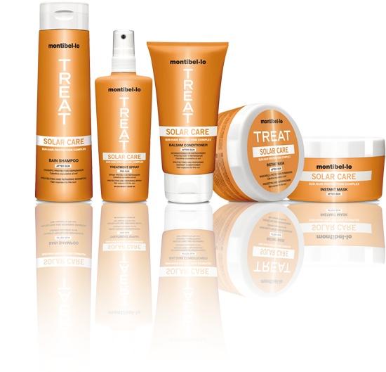 Productos solares :  -Champú after-sun, Bálsamo after-sun ,Spray pre-sun,Mascarilla after-sun de Montibello #CosmeticaProfesional  #hair  #sun #montibello  #hairdressing