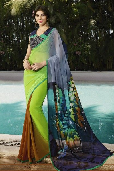 #Opulent #Printed #PartyWear #Green And #Orange Color #Saree in #Georgette Fabric