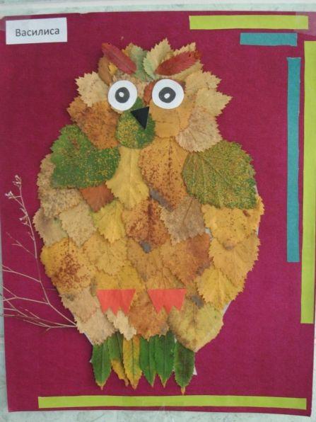 Детские поделки - Совушка-сова Аппликация из осенних листьев