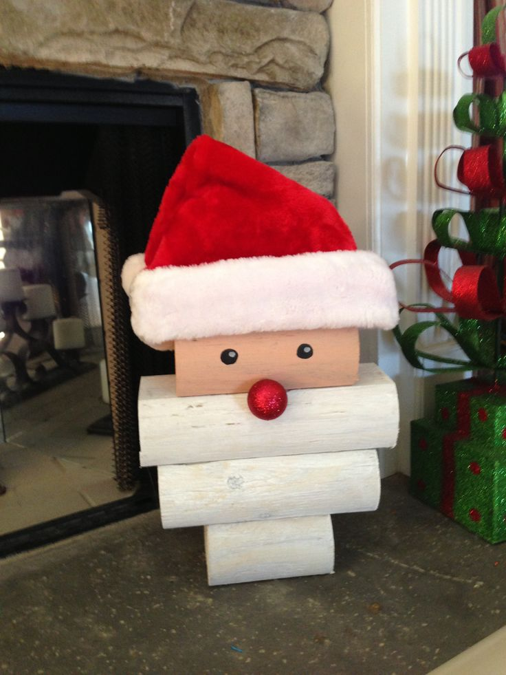 DIY Stacked Wood Santa