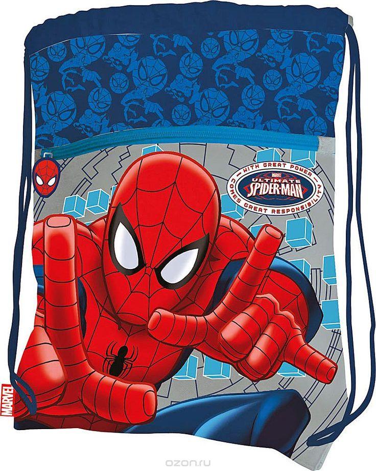 Сумка для сменной обуви Spider-Man, цвет: синий, светло-серый