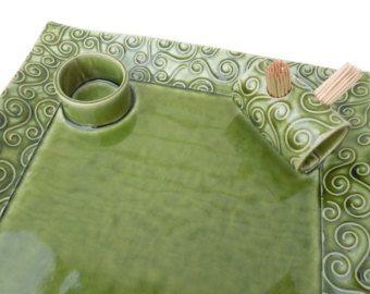 Grote groene getextureerde Swirl keramische aardewerk aperitief serveren tandenstoker plaat lade