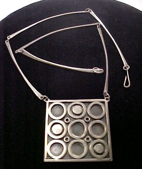 Vintage Modernist Sterling Silver Pendant Necklace Signed | eBay