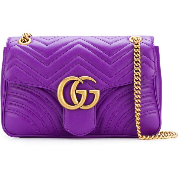 Gucci GG Marmont shoulder bag ($2,245) ❤ liked on Polyvore featuring bags, handbags, shoulder bags, shoulder handbags, purple shoulder bag, leather shoulder handbags, purple leather purse and chain shoulder bag