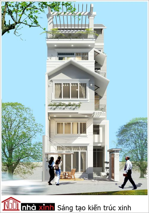Mẫu thiết kế nhà phố đẹp mái dốc