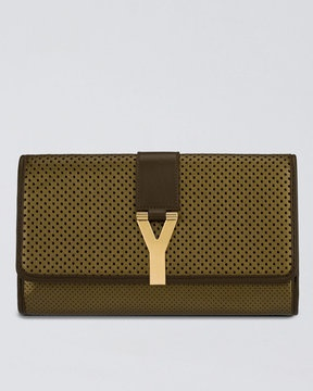 """Yves Saint Laurent Perforated Leather """"Y"""" Clutch"""