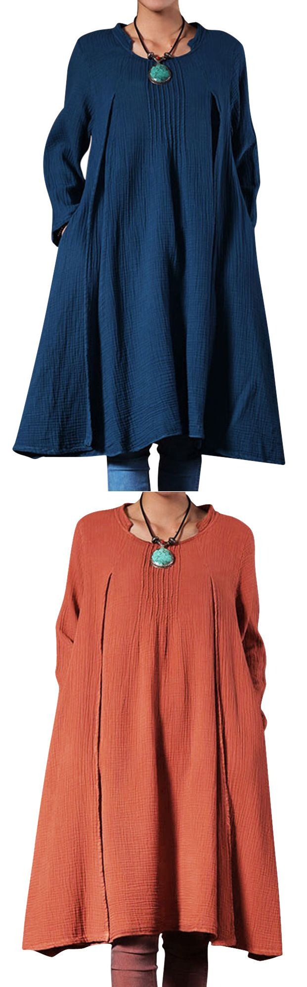 O-Newe Loose Pure Color Long Sleeve Ruffled Dress