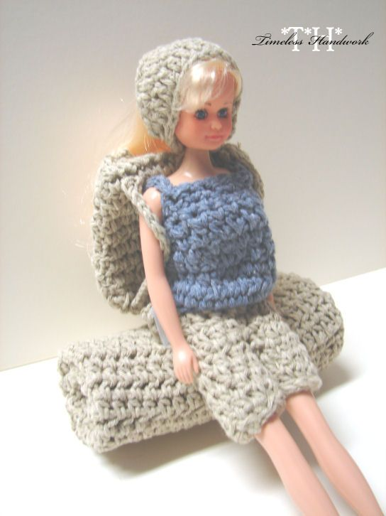 PURCHASED pattern - CROCHET - 12TH Fashion Doll Camping Set ~ incl. backpack, sleeping bag, bandana, tank top and shorts