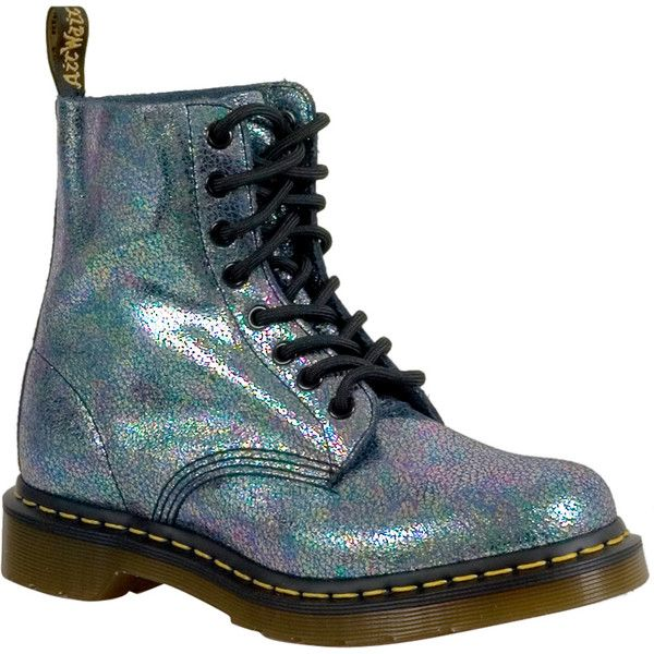 Dr. Martens Iridescent Pascal Women's Combat Boot ($125) ❤ liked on Polyvore featuring shoes, boots, grey, leather military boots, leather combat boots, genuine leather boots, real leather boots and lug sole boots