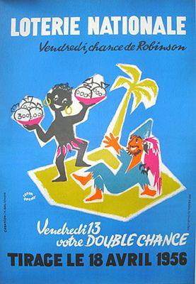 Lefor Openo -Loterie Nationale Robinson Crusoe ☆ルフォール・オプノ、1956年ヴィンテージポスター。ロビンソン・クルーソーがモチーフの国営宝クジ広告。