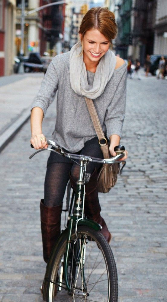 : Cities Style, Bicycles, Fashion Shoes, Knee High Boots, Fall Outfits, Girls Fashion, Scarfs, Summer Clothing, Bike Style